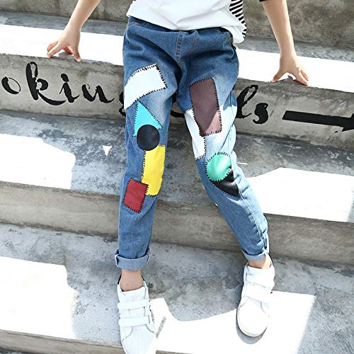Jeans Dosige Autunno blu 160 Cm Stitching Età 12 Patch 8 Bambini Denim Pantaloni Size xxl Per Fashion xxl Blu Donna BfwqFf
