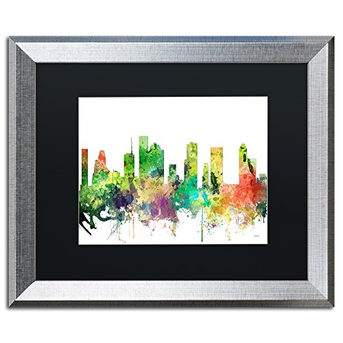 Houston Texas Skyline SP by Marlene Watson, Black Matte, Silver Frame - Warehouse Frames Houston