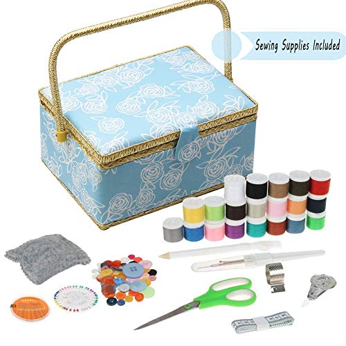 D&D Large Sewing Basket with Sewing Kit Accessories - Wooden Sewing Storage Box Organizer with Sewing Supplies and Notions, Handle and Insert Tray