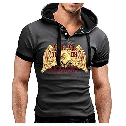 TUSANG Men's Tops Summer Fashion Comfortable Casual Hooded Stitching Printed Short Sleeves Slim Fit Comfy Tunic(Dark -