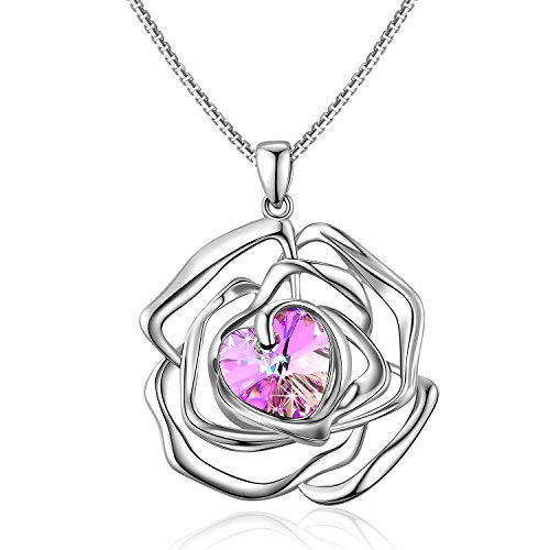 Valentines Gifts Menton Ezil Rose Flower Pendants Necklace White Gold Plated with Mysterious Purple Stone SWROVSKI CRYSTALS for Women Her Birthday Gift Anniversary - Black Designer Stores Friday Have Sales Do