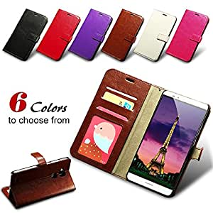 Vintage Flip Luxury Leather Shell Case For Huawei Ascend Mate 7 Wallet Stand Display With Card Holder Cover For Huawei Mate 7 --- Color:Red