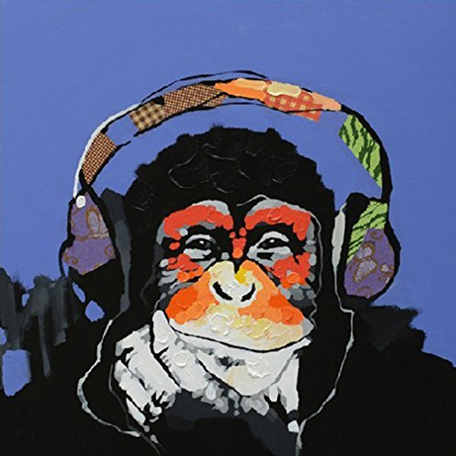 Muzagroo Art Oil Painting Gorilla Paintings Hand Painted on Canvas Wall Decor Streched Ready to Hang(24x24in) by Muzagroo Art