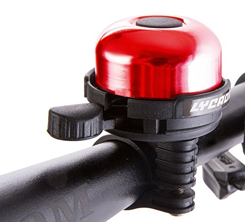 LYCAON Bell 8 Colors Mini Aluminum Alloy Bike Ring Loud Crisp Clear Sound Horn Bike Accessories for Scooter, Cruiser Ebike, Tricycle, Mountain Road Bike, MTB BMX Electric Bike, Red