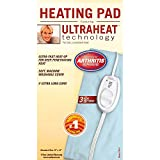 Sunbeam Heating Pad for Pain Relief | Standard Size Ultra Heat, 3 Heat Settings | Light Blue, 12 Inch x 15 Inch