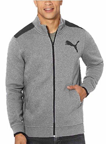 Puma Mens Full Zip Logo Fleece Track Jacket Kangaroo Pockets (Large, Medium Heather Grey)