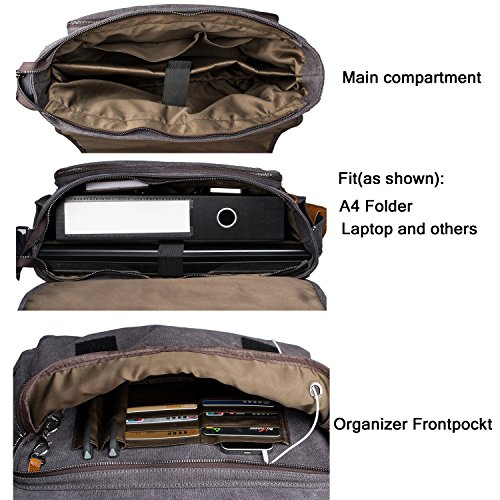 Estarer Computer Messenger 17-17.3 Inch Water-resistance Canvas Laptop Shoulder Bag for Travel Work College New Version by Estarer (Image #2)