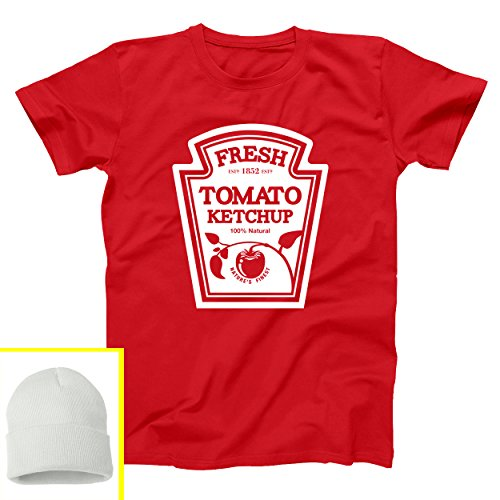 Ketchup Bottle Halloween Party Costume with Hat Mens Shirt Large Red -