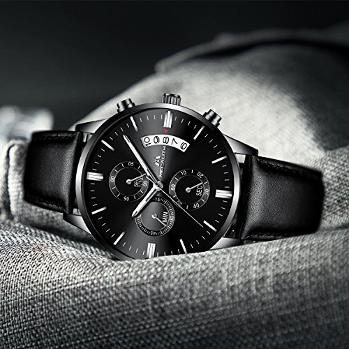 Mens-Black-Wrist-Watches-Men-Waterproof-Chronograph-Date-Large-Face-Leather-Watch-Sport-Fashion-Watches