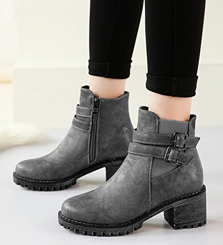 Round Heels Women's Toe Zipper Aisun Booties Mid Chunky Gray Daily wqpREEC