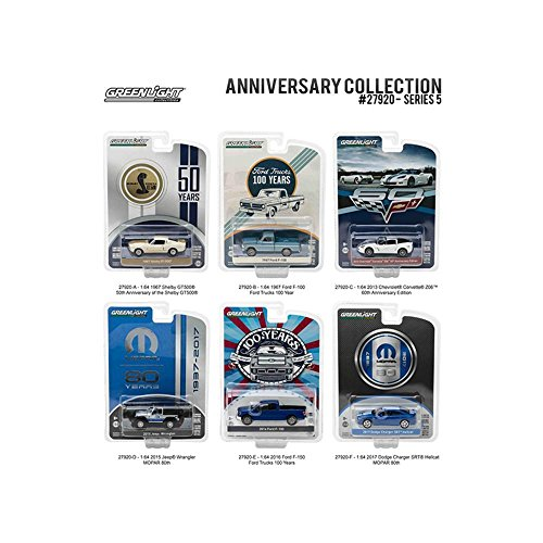 Anniversary Collection 50th Anniv Shelby - Corvette Z06 60th Anniv - Ford Trucks 100 Years - MOPAR 80th Series 5 6pc Diecast Car Set 1-64 Diecast Model Cars by Greenlight
