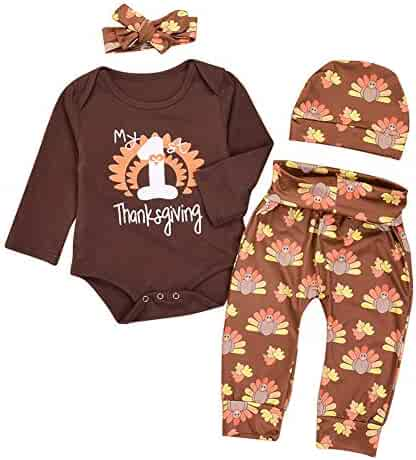 62f17af20120 FYMNSI Unisex Baby Boys Girls My 1st Thanksgiving Outfits Letter Print Long  Sleeve Romper Turkey Pants
