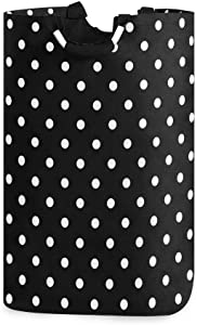 PAGSRAH Classic White Black Polka Dot? Large Folding Laundry Basket Foldable Self-Standing Portable Washing Storage Tote Bag with Handles