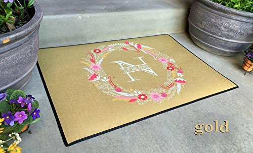 Qualtry Personalized Outdoor Welcome Entrance Door Mat - Decorative Front Door Welcome Rug Wedding Gift (Wreath Nelson Design, Large Size) by Qualtry