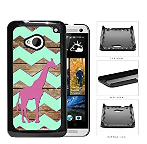 Dark Pink Color Giraffe on Mint Chevron and Brown Wood Pattern HTC one M7 Hard Snap on Plastic Cell Phone Cover