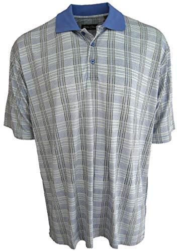 (Men's Silk & Cotton Blend Polo Golf Shirt Plaid (XXL, Island))