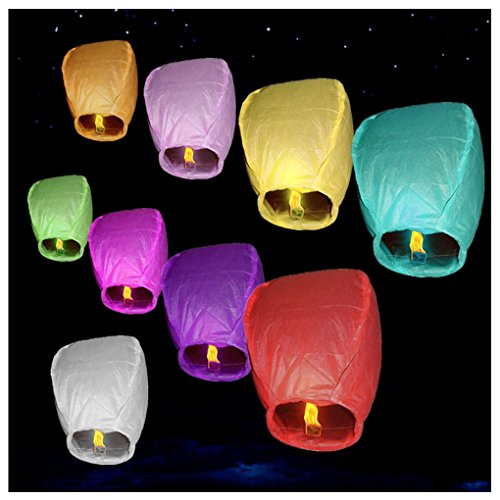 Llynice 9 pack Chinese Flying Sky Lanterns Wire-free Assorted Paper Lanterns Wishing Lantern For Birthday Wedding Party Special festivals- Assorted Colors by Llynice