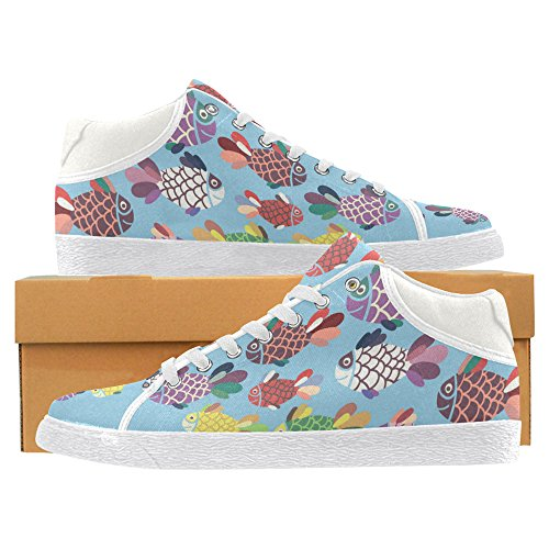 InterestPrint jeans Canvas Chukka Fashion Sneakers for Women Fish 1 KVI5w0Us