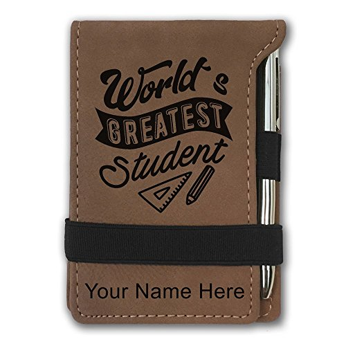 Mini Notepad, World's Greatest Student, Personalized Engraving Included (Dark Brown) by SkunkWerkz