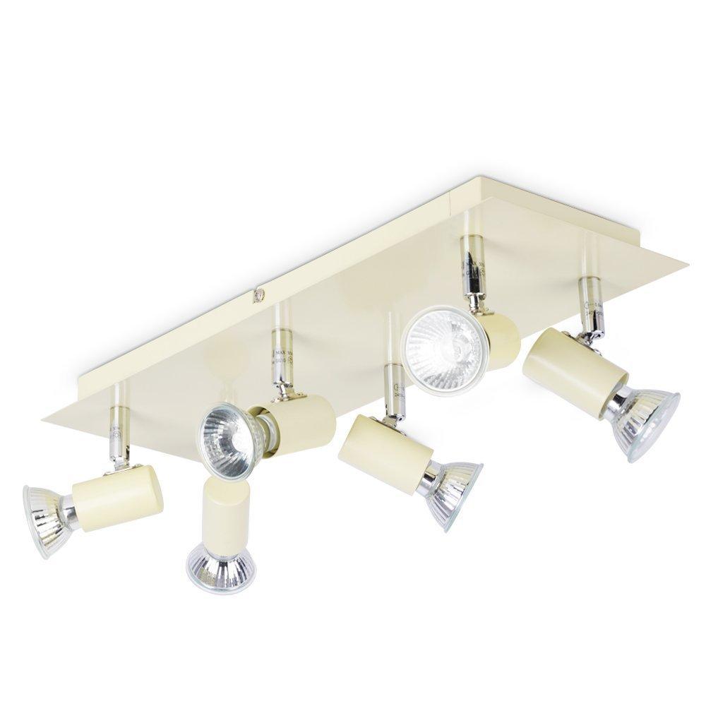 kitchen ceiling spot lighting.  lighting minisun  modern rectangular cream u0026 chrome plate 6 way adjustable gu10 ceiling  spotlight amazoncouk kitchen home in spot lighting n