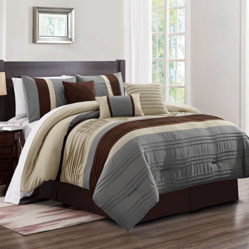 - KingLinen 11 Piece Noah Taupe/Gray/Coffee Bed in a Bag Set Queen