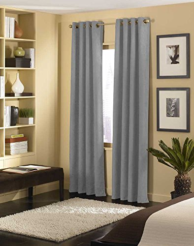 Microsuede Drapery Panel - Curtainworks Cameron Grommet Curtain Panel, 50 by 84