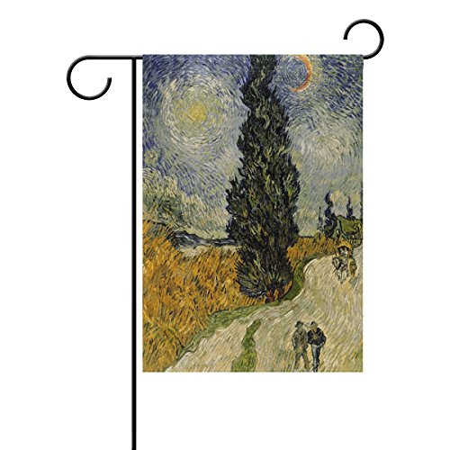 Blue Viper Van Gogh Painting Road With Cypress And Star Garden Flag Waterproof Polyester Fabric and Mildew Resistant for Outdoor Lawn and Garden Double Side Print 28 x 40 - Garden Country City Road