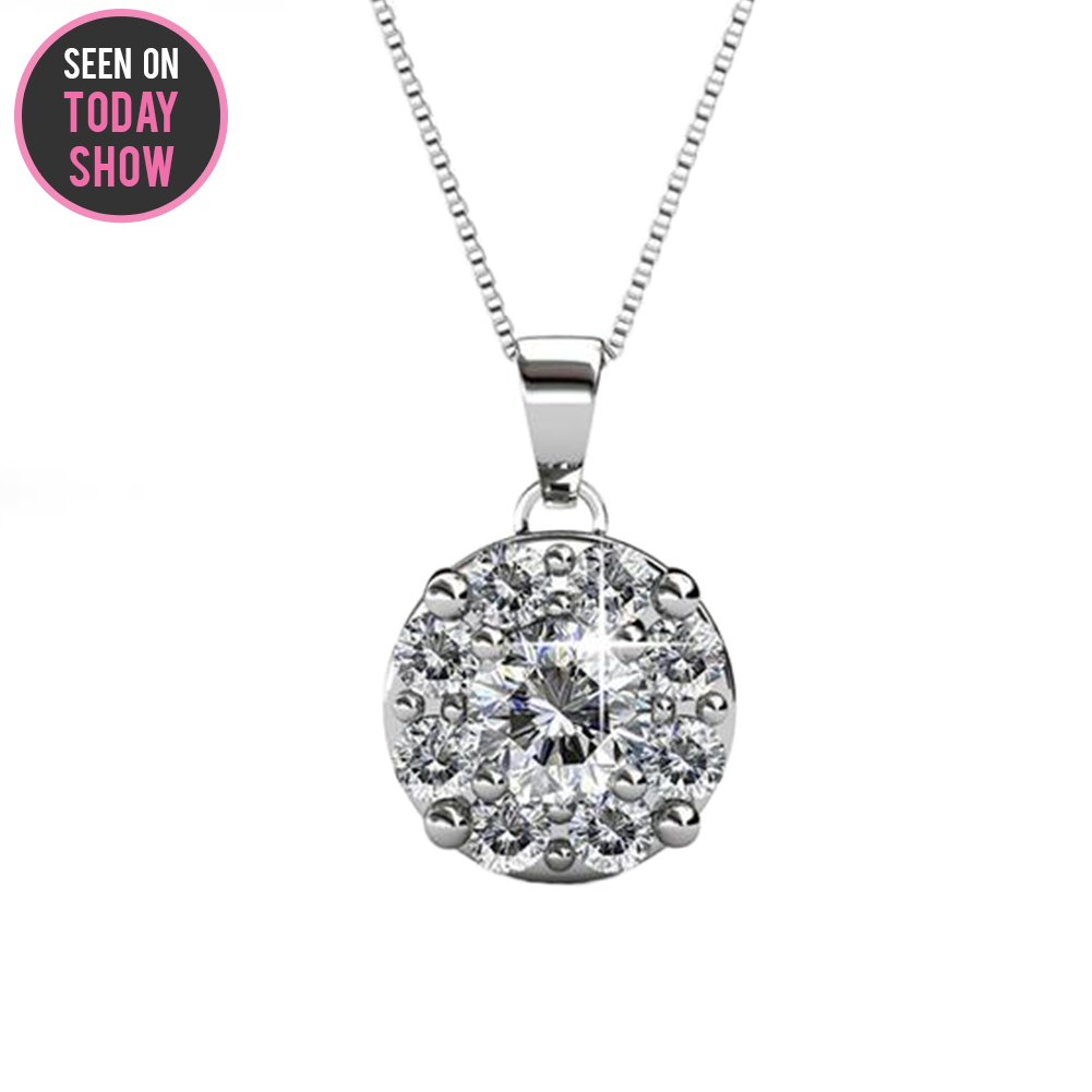 Cate & Chloe Ruth White Gold Pendant Necklace with Swarovski Crystals, Beautiful Halo Silver Necklace for Women with 8 Round Cut Swarovski Crystals with Solitaire Center Crystal, Amazon Prime 2018