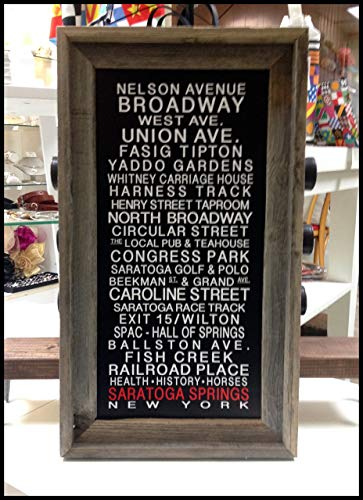 - Saratoga Springs - Belmont Park - Saratoga Race Course - Arlington Park - OR Choose Your Own Race Track Bus Roll Print Framed in Barnwood by SaratogaRocksTM