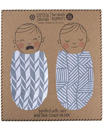 100% Bamboo Muslin Baby Swaddle Set By Captain Silly Pants: Newborn Babies, Soft & Breathable, Hypoallergenic For Sensitive Skin, Durable & Eco-Friendly, Boys & Girls, 48