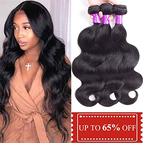 Brazilian Body Wave Human Hair 3 Bundles Deal (14 16 18 Inch) 100% Unprocessed Brazilian Virgin Human Hair Weave Bundles Soft Thick Body Wave Hair Extensions Natural Black Color ()