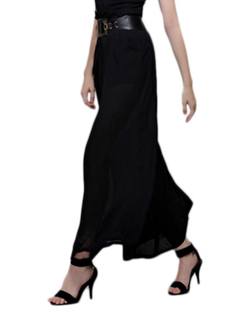 Enlishop Women's Black Chiffon Pleated Elastic Waist Wide Leg Palazzo Pants by Enlishop (Image #5)