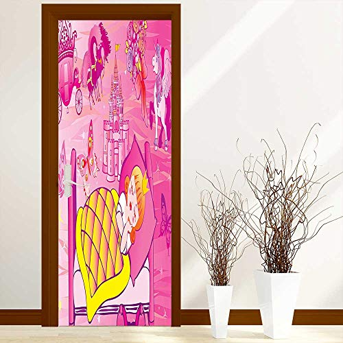 Stylish Waterproof Door Stickers Decor Collection Princess Sleeps in Bed Fairytale Butterfly Flower Bouquet Horse Unicorn Image for Living Room Decorations W38.5 x H79 inch