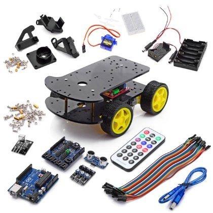 Arduino Multi-Functional 4Wd Robot Car Kits - Yellow + Black