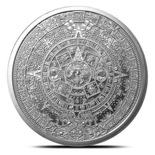 Troy Oz Silver Coin - 1 oz .999 Silver Aztec Calendar Stone, Eagle Warrior Emperor of Tenochtitlan New