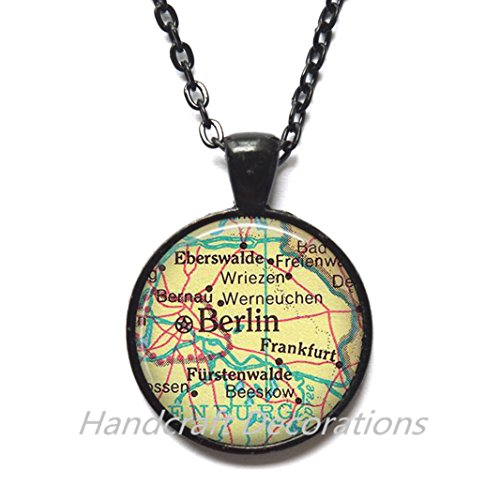 Charming Necklace,Berlin map Necklace, Berlin map Pendant, Berlin Necklace Berlin Pendant, Berlin, Germany, Frankfurt Germany map (Frankfurt Halloween)