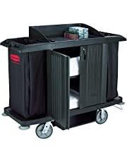 Rubbermaid Commercial Executive Series Full-Size Housekeeping Cart with Doors, Black, FG619100BLA