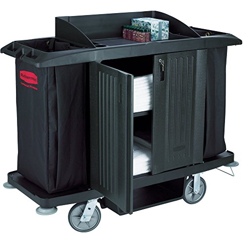 (Rubbermaid Commercial Executive Series Full-Size Housekeeping Cart with Doors, Black, FG619100BLA)