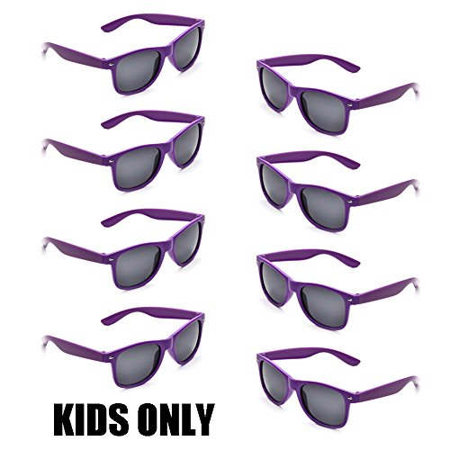 Neon Colors Party Favor Supplies Unisex Sunglasses Pack of 8 for Kids (8 Pack - Purple Wayfarers