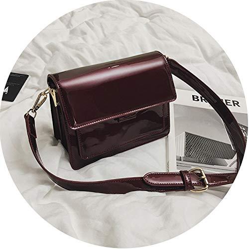 designer Red Patent Leather Tote Bag Handbags Women Lady's Lacquered Handbag bags for Women Shoulder Bag Sac,Burgundy ()