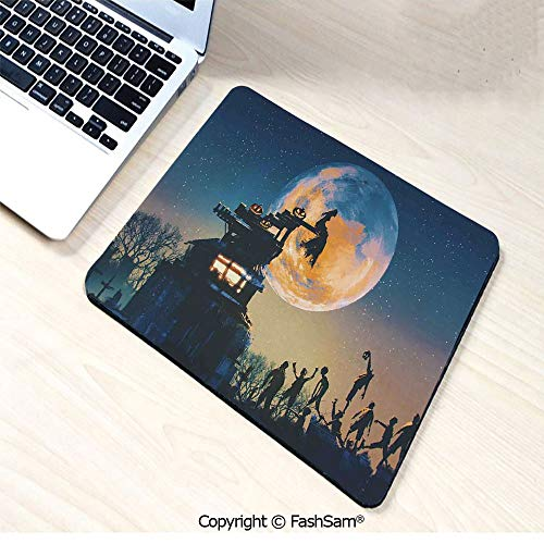 Desk Mat Mouse Pad Dead Queen in Castle Zombies in Cemetery Love Affair Bridal Halloween Theme for Office(W9.85xL11.8)]()