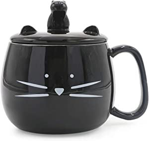 Koolkatkoo 16OZ Cute Cat Coffee Mug with Cell Phone Holder Lid for Cat Lover Unique Ceramic Black Mugs Tea Cup Gift for Women