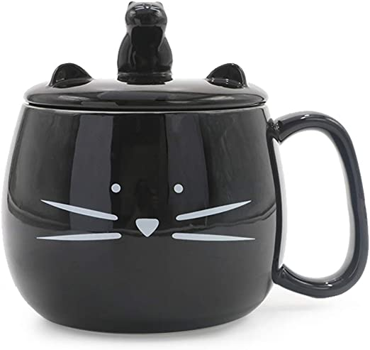 Koolkatkoo Cute Cat Coffee Mug with Cell Phone Holder Lid for Cat Lover Unique Ceramic Tea Mugs Porcelain Cup Gift for Women Black