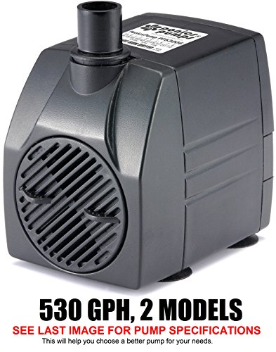 PonicsPump PP53006: 530 GPH Submersible Pump with 6' Cord - 45W… for Hydroponics, Aquaponics, Fountains, Ponds, Statuary, Aquariums & more. Comes with 1 year limited warranty. by PonicsPumps
