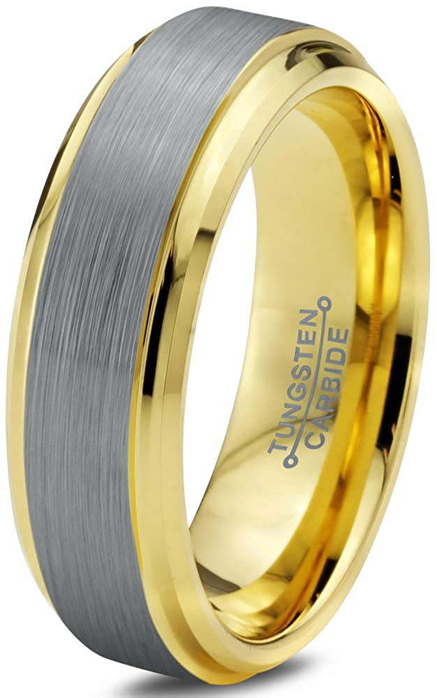 Charming Jewelers Tungsten Wedding Band Ring 6mm Men Women Comfort Fit 18k Yellow Rose Gold Black Grey Step Edge Brushed Polished CJ-372-B