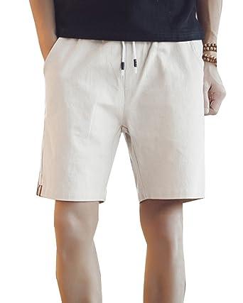 06e4d15b3d9 GladiolusA Homme Casual Shorts en Lin Taille Élastique Chino Bermudas De  Plage Grande Taille Décontracté Léger