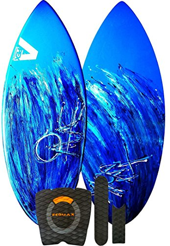 Skimboard / Wakesurf Board, Fiberglass/Carbon Fiber Avac by Apex, 40lbs. to 120lbs, Choose Size/Design, Bundled with Fedmax Ultimate Tips and Tricks Guide, Skim Board for Kids/Adults. Design 5, 41 In. (Zap Wedge)