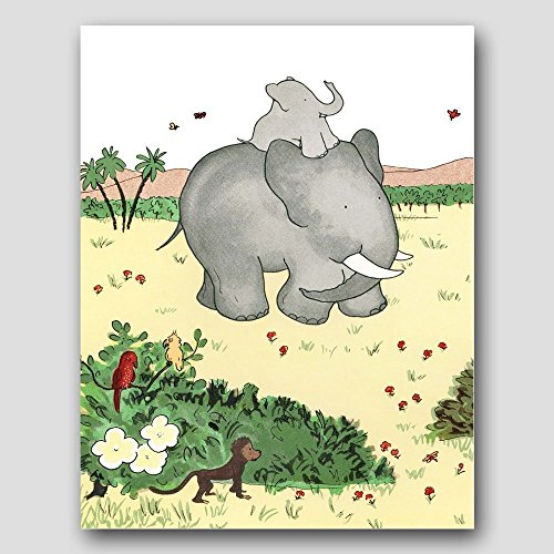 Babar the Elephant Art (Childrens Wall Decor, Baby Nursery, Kids Room Print)