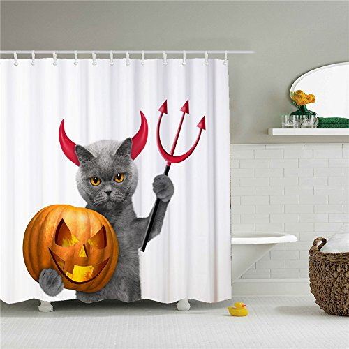Cat Devil Halloweeen Shower Cutains-Water, Soap, and Mildew resistant Machine Washable 12 Shower Hooks are Included 66