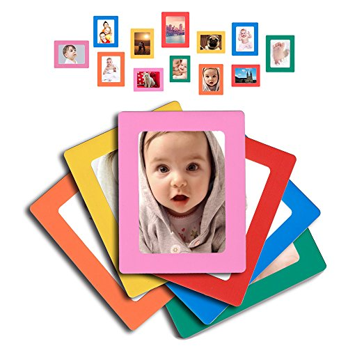 Raxwalker Magnetic Photo Frames and Refrigerator Magnets Holds 4x6 3.5x5 2.5x3.5 Inches Photos,12 Pack(Colorful) (Magnet Refrigerator Frame)